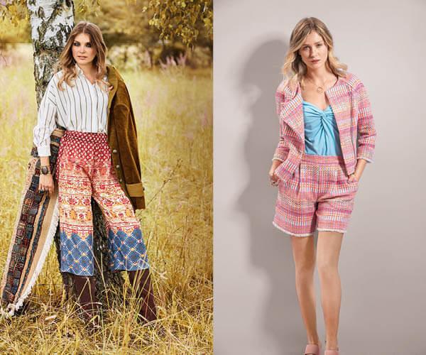 Pantalon large et short en tweed avec galon à franges