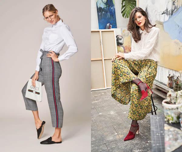 Pantalon 7/8e à la ligne paper bag et jupe-culotte à plis sur le devant