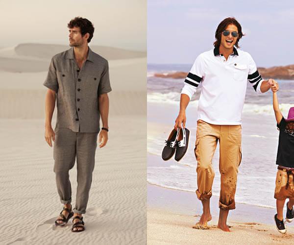 Deux modèles pour hommes: pantalon d'été en lin et pantalon à poches cargo